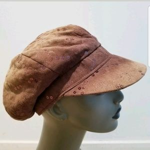 Microsuede Brown Ombre Newsboy Sequined Hat Size M